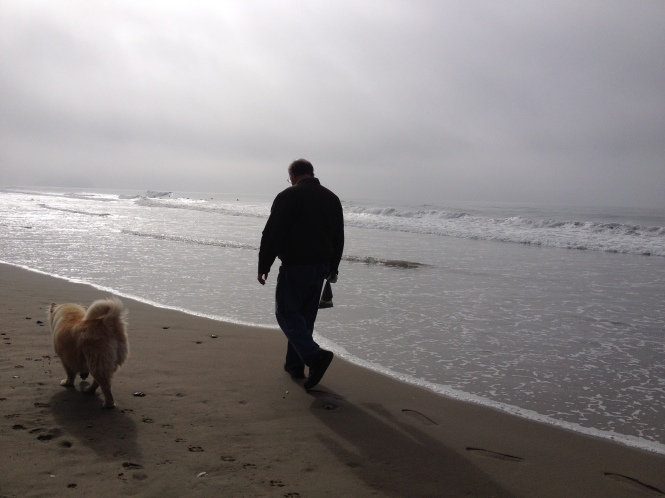 Tom and Lily Bear at the dog beach